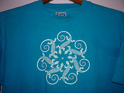 Vintage 80s Native American Indian Art Lizards and Bug Print T Shirt Blue XL