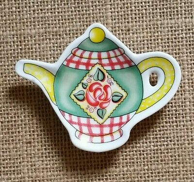 Mary Engelbreit Teabag Holder ME Ink Teapot Shape Green White Yellow Pink Rose
