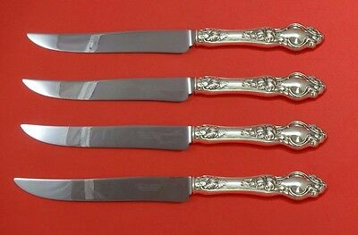 Violet by Wallace Sterling Silver Steak Knife Set 4pc Texas Sized Custom