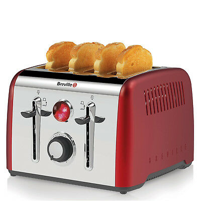 Breville Opula CANDY RED Stainless Steel 4 Slice Toaster Stylish Elegant Rounded