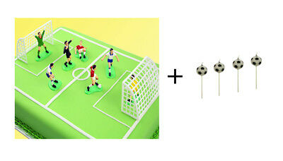 PME FOOTBALL Topper 4x Candles and 9pc Cake Decoration for Kid Birthday Party