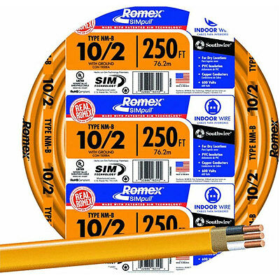 Romex 250 ft. 10/2 NM-B Indoor Residential Building Ground Wire Electrical Cable