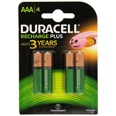 4x Duracell Plus AAA Triple A 750mAh Rechargeable Battery Batteries 81364750