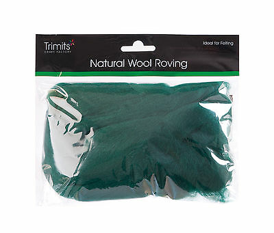 TRIMITS Natural 100% Wool Roving For Needle Felting 50g - GRASS GREEN