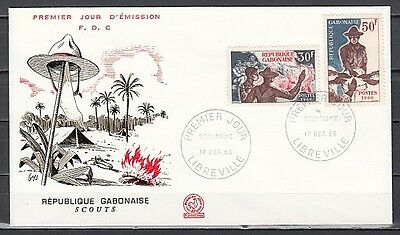 """ Gabon, Scott cat. 200-201. Scouting issue on a First day cover"