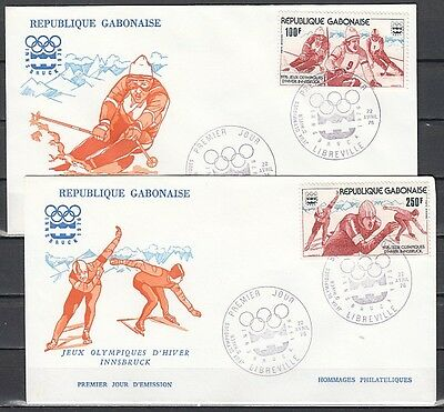 """ Gabon, Scott cat. C174-C175. Winter Olympics issue on a First day cover."