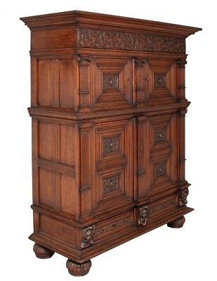 17Th Century Carved Oak Flemish Cupboard Cabinet