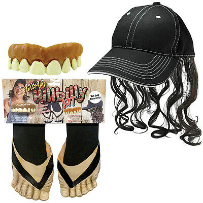 NEW (Set) Billy Bob Hillbilly Teeth With Six Toed Sandals And Redneck Mullet Cap
