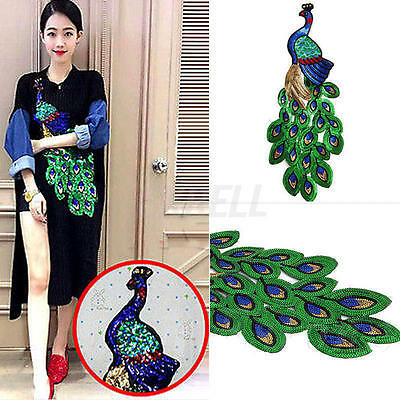 Embroidered Green Blue Sequins Peacock Applique Sewing Trim Garment Decoration