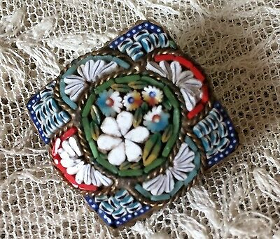 Vintage Antique Italian Micro Mosaic flower brooch pin