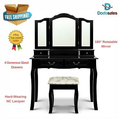 NEW Black Dressing Table Vanity Set W/ Tri Fold Mirror And Embroid Stool Drawer