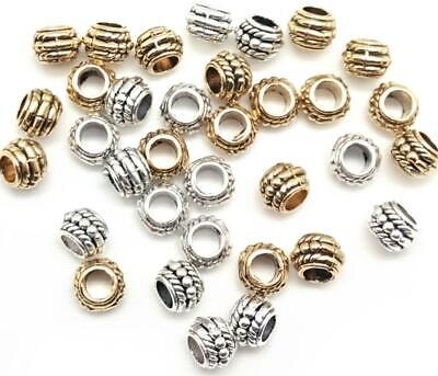 100Pcs Antique Silver/Gold Round Spacer Beads Loose Beads for Jewelry Making 8mm
