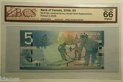 2006 Bank Of Canada $5 BC-67bA, Single Note Replacement, BCS 66. Gem UNC. Rare