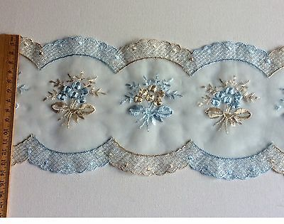 Antique Lace Embroidered Organza Blue Sewing Trim Baby Craft Heirloom Dolls