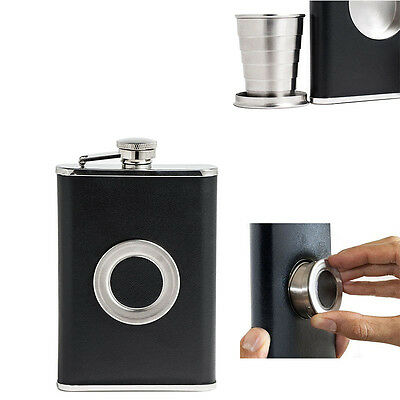 8OZ StainlessSteel  Wine Flask With Collapsible SHOT GLASS Wraped with  Leather
