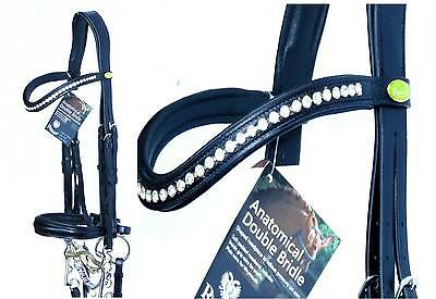 RHINEGOLD TOP GERMAN DOUBLE WEYMOUTH BLING BRIDLE Comfort Padded MONOCrown Piece