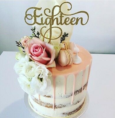 Eighteen 18 Cake Topper - Gold Glitter