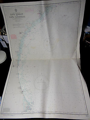"USA FLORIDA Cape Romain to Canaveral SEA NAVIGATION Map Chart 28"" x 41"""
