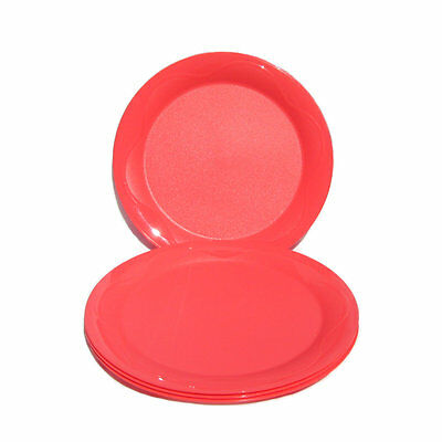 Tupperware Picnic Breeze Plates Open House x 4 Round Coral Pink NEW Dinner size