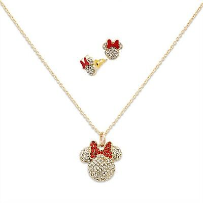 Disney Store Minnie Mouse Necklace and Stud Earrings Set