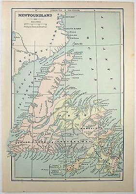 Original 1887 Map of Newfoundland by Phillips & Hunt