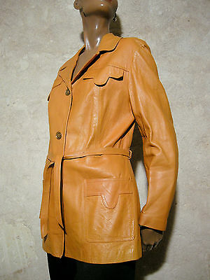 CHIC VINTAGE VESTE CUIR 1970 VTG LEATHER JACKET 70s SEVENTIES MOD SCOOTER (40/42