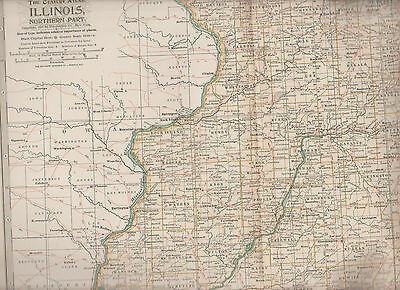 Illinois Northern Part Century Atlas 1897 Antique Map #20 11 3/4 x 16
