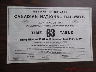 1959 Canadian National Railways Employee Timetable No. 63 Montreal Dist. CNR ETT