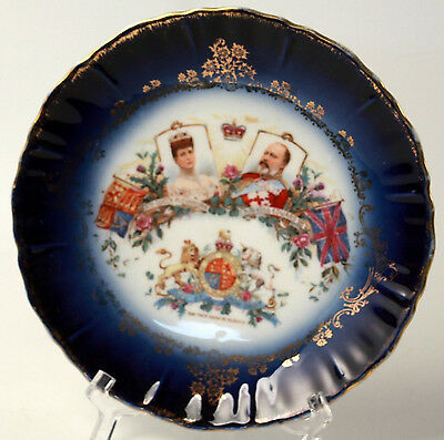 1901 Edward VII & Alexandra Coronation Plate Cobalt Border Gold Edge