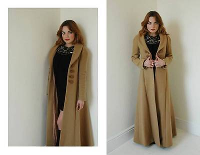 Vintage BIBA camel wool coat 70's hippie boho military style collectible small