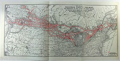 Original 1930 Canadian Pacific Railway System Map RR Railroad