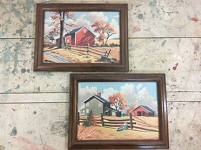Lot of 2 Vintage Framed Paint by Number Paintings of Farmhouse & Red Barn PBN