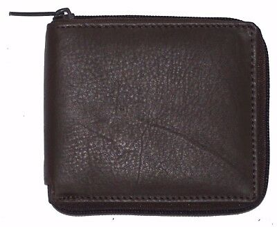 RFID Mens Bifold Zip Around Leather Wallet Secure Multi Pockets Billfold Brown