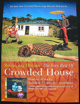 CROWDED HOUSE Recurring Dream Very Best 1996 UK promo Poster Mint- ORIGINAL!