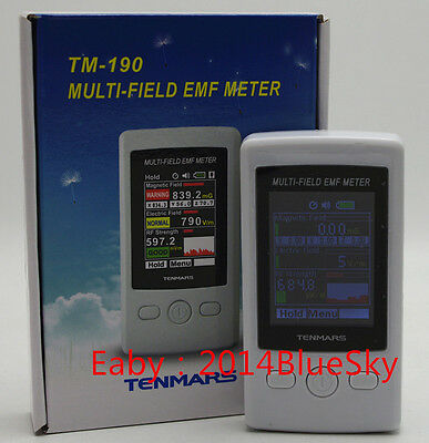 TENMARS TM-190 EMF Meter Gauss 3-axis Magnetic Electric RF Field Strenght