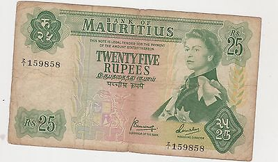 Mauritius 1967 (Nd) 25 Rupees Banknote  Z/1 159858 Rare Replacement Note