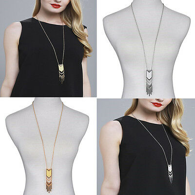 New Women Tassel Sweater Chain Pendant Gold Silver Plated Long Necklace Jewelry