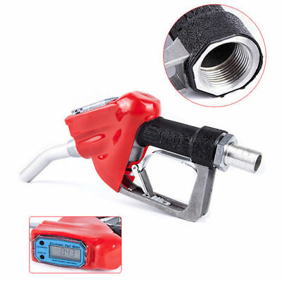 Fuel Delivery Gun Gasoline Diesel Petrol Oil Nozzle Dispenser + Flow Meter 1""