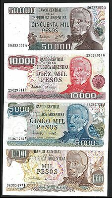 Argentina 1000 to 50000 PESOS Serie 1979 UNC SET 4 NOTES