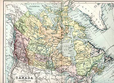 1898 Victorian Colour Map  ~ Dominion Of Canada Nfland