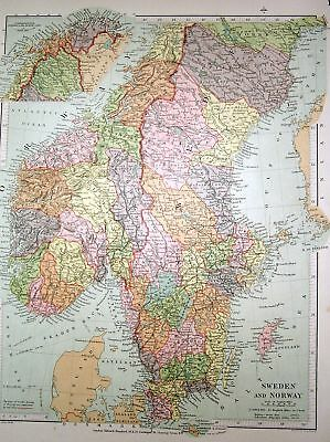 Stanford's 1892 Map Of Sweden And Norway