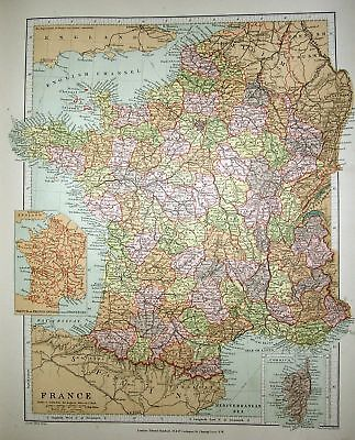 Stanford's 1892 Map Of France ~  Inset Provinces