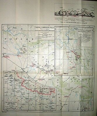 MAP/BATTLE PLAN ~ NEPAL CAMPAIGN 1814-15 GANGES VALLEY WESTERN SPHERE MALAON etc