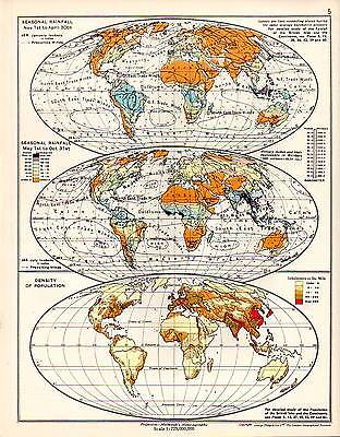 Map ~ The World ~ Seasonal Rainfall ~ Density Of Population ~ Sandhurst Atlas