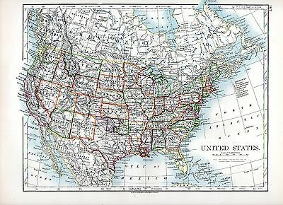 1897 Victorian Map ~ United States Of America