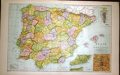 1922 LARGE MAP of SPAIN & PORTUGAL insets LISBON MADRID GIBRALTAR 21 x 13 inches