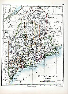 1897 Victorian Map ~ United States Of America (Maine)
