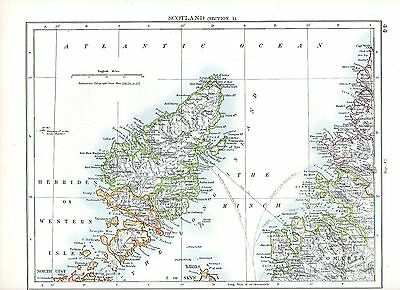 1897 Victorian Map ~ Scotland (Section 1) Hebrides Or Western Isles The Minch