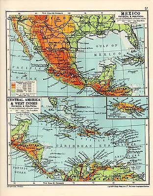 Map ~ Mexico Central America & West Indies ~ Physical & Political