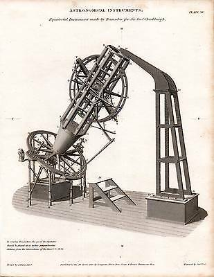 1820 Dated Print Astronomical Instruments ~ Ramsden's Equatorial ~ Shuckburgh
